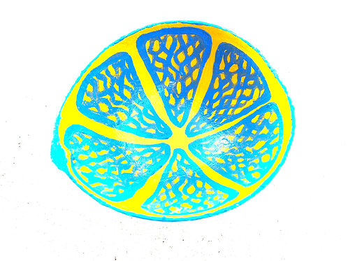 Hand Painted Lemon Calabash Bowl