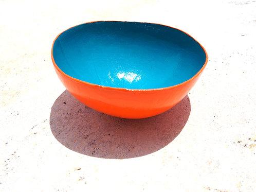 Orange / Aqua Calabash Bowl