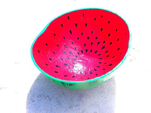 Hand Painted Watermelon Calabash Bowl