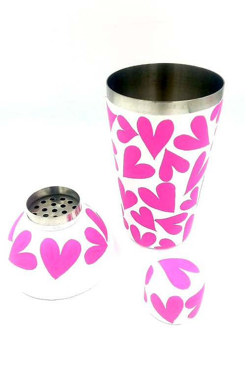 Hand Painted Pink Heart Cocktail Shaker