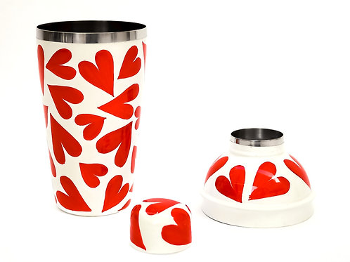 Hand Painted Red Heart Cocktail Shaker