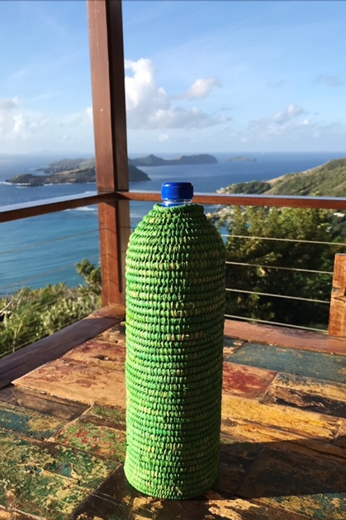 Green Rattan Water Bottle Cover