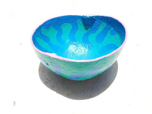 Blue Squiggle Calabash Bowl