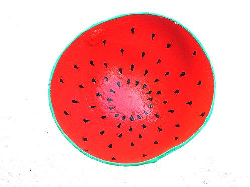 Large Hand Painted Watermelon Calabash Bowl