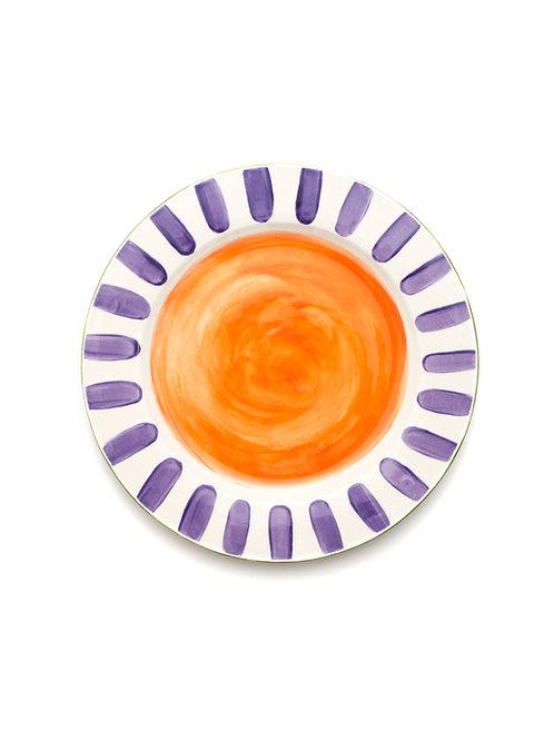Purple / Orange Striped Plate