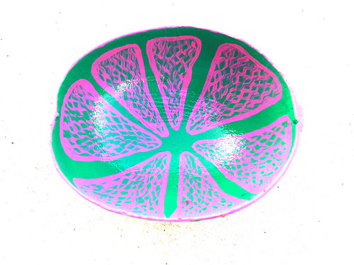 Hand Painted Pink Lime Calabash Bowl