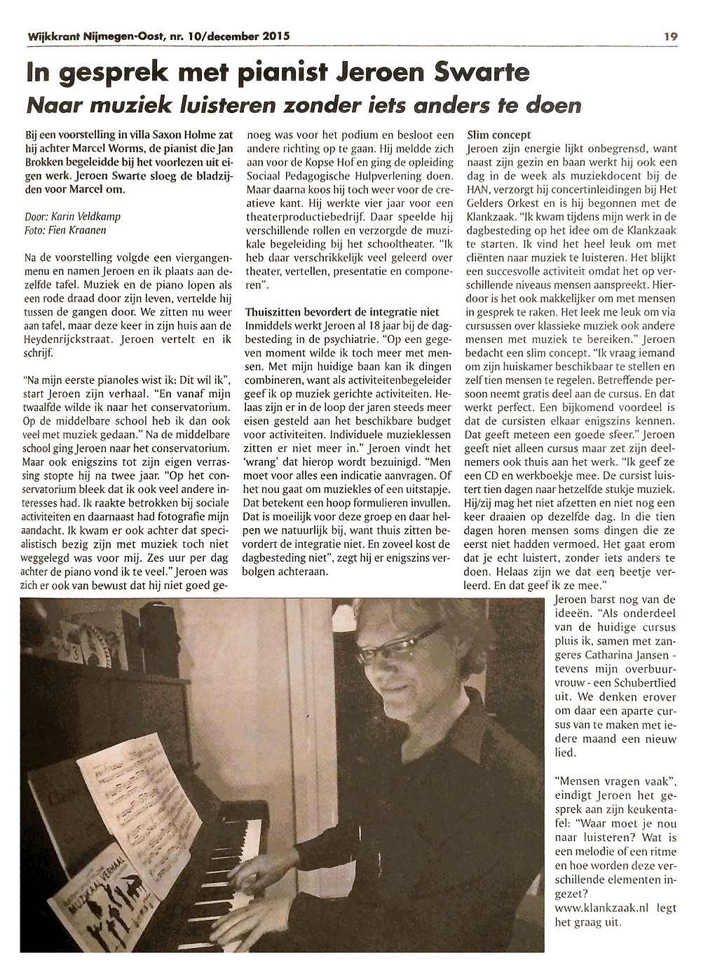 Interview Jeroen Swarte wijkkrant Nijmegen-Oost