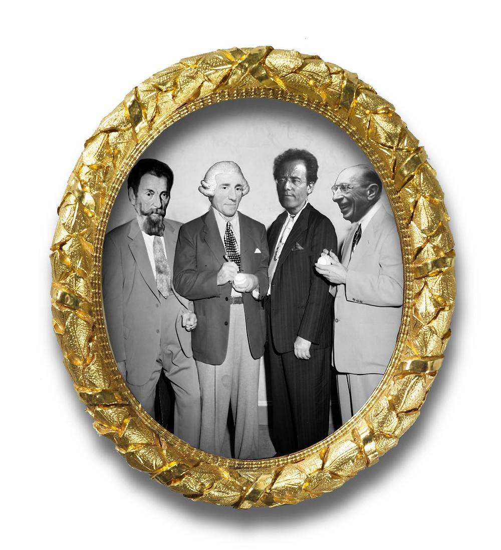 Portret van Monteverdi, Haydn, Mahler en Stravinsky
