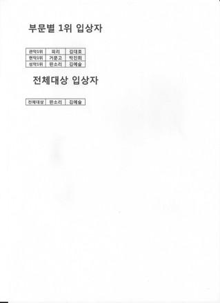 6.2 본선 부문별 1위 및 전체대상 입상자 공지