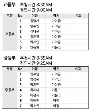 제4회 부암국악경연대회 예선 상세일정