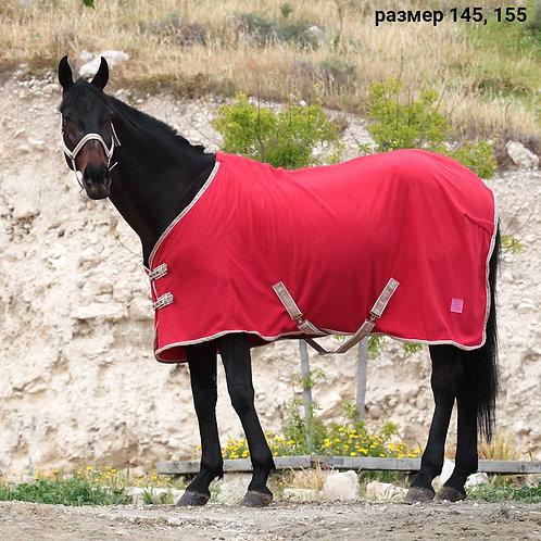 Попона флисовая HORSE ONE Basic Home. Красная с ремнями