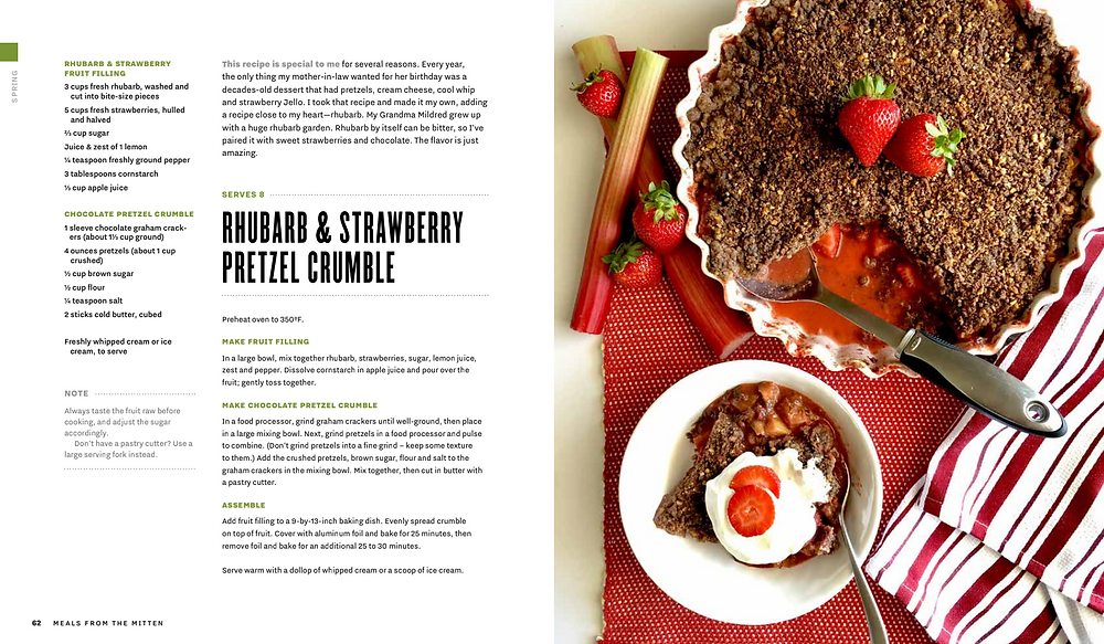 Rhubarb & Strawberry Pretzel Crumble