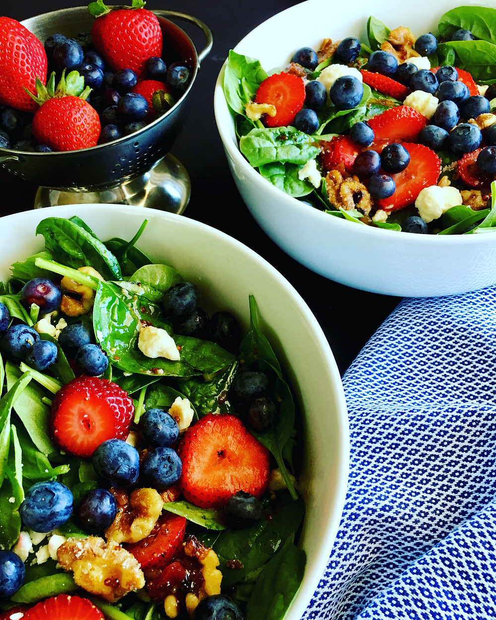 Strawberry & Blueberry Spinach Salad
