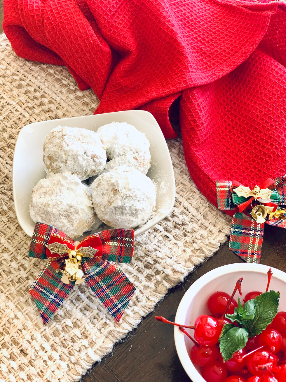 Cherry Pistachio Snowball Cookies