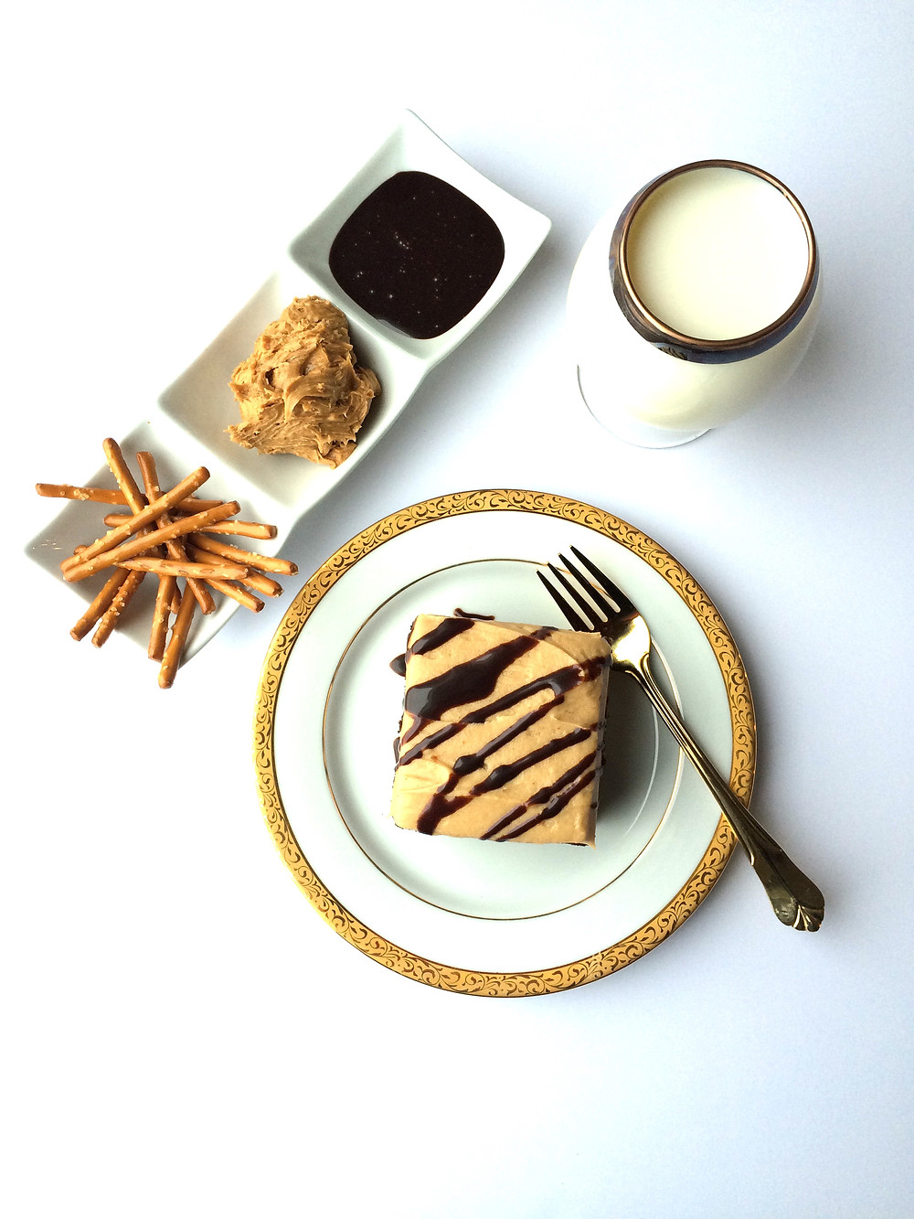 Pretzel Crusted Chocolate Cake with Peanut Butter Frosting