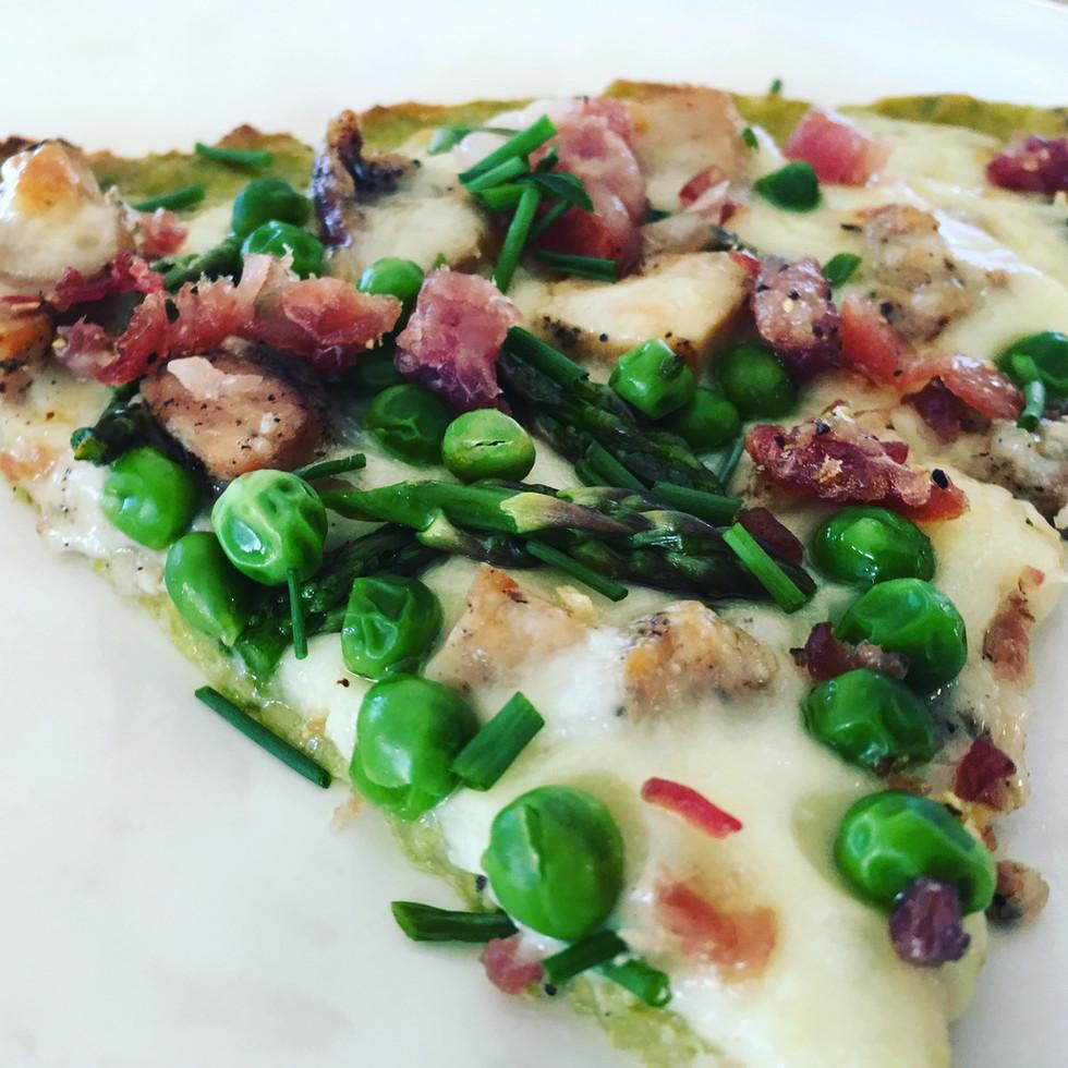 Asparagus Crust White Chicken Pizza