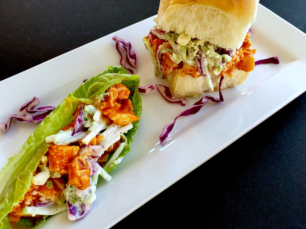 Buffalo Chicken & Blue Cheese Slaw Sliders