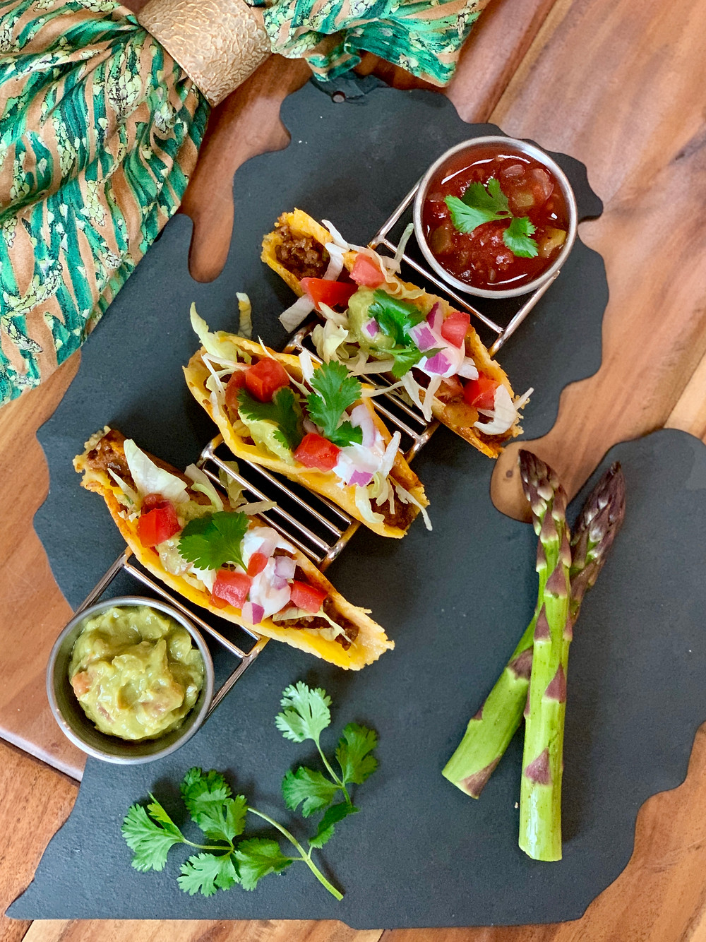 Cheesy Asparagus Shell Tacos