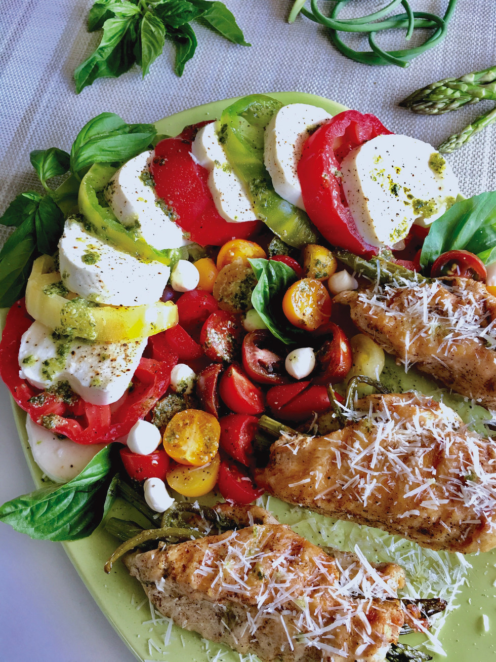 Asparagus Stuffed Chicken Breast & Caprese Salad