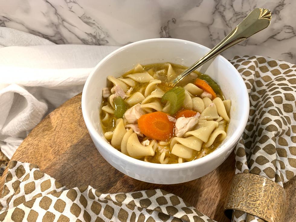 One-Pot Roast Chicken Noodle Soup