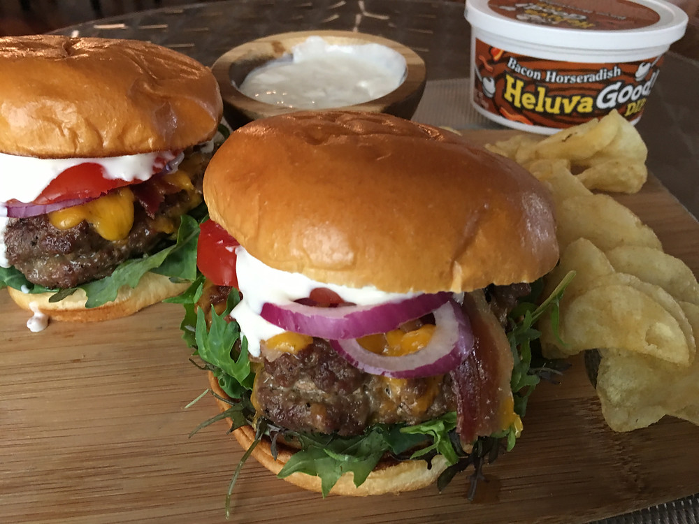 Bacon Horseradish Cheddar Stuffed Cheeseburgers - Heluva Good! Dips