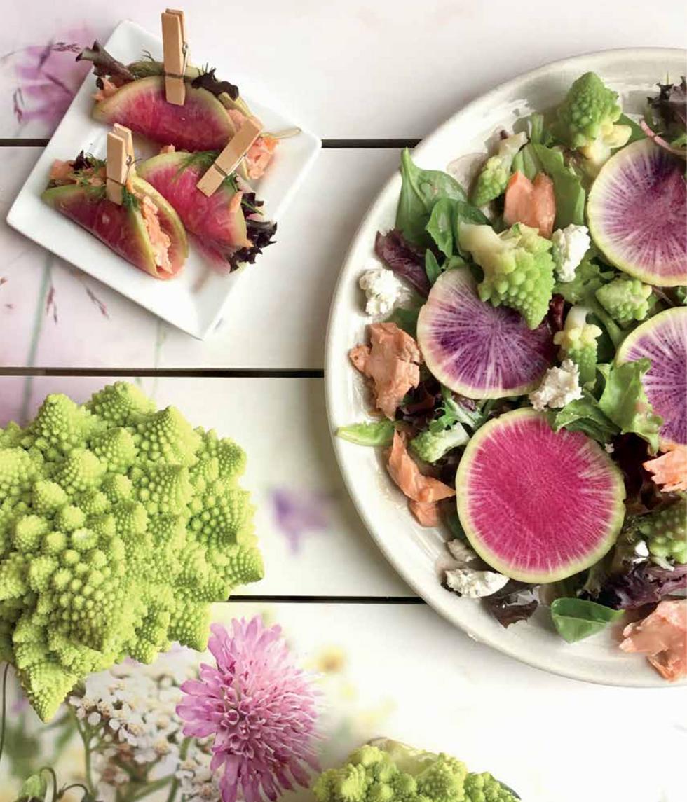 Watermelon Radish & Romanesco Salmon Salad