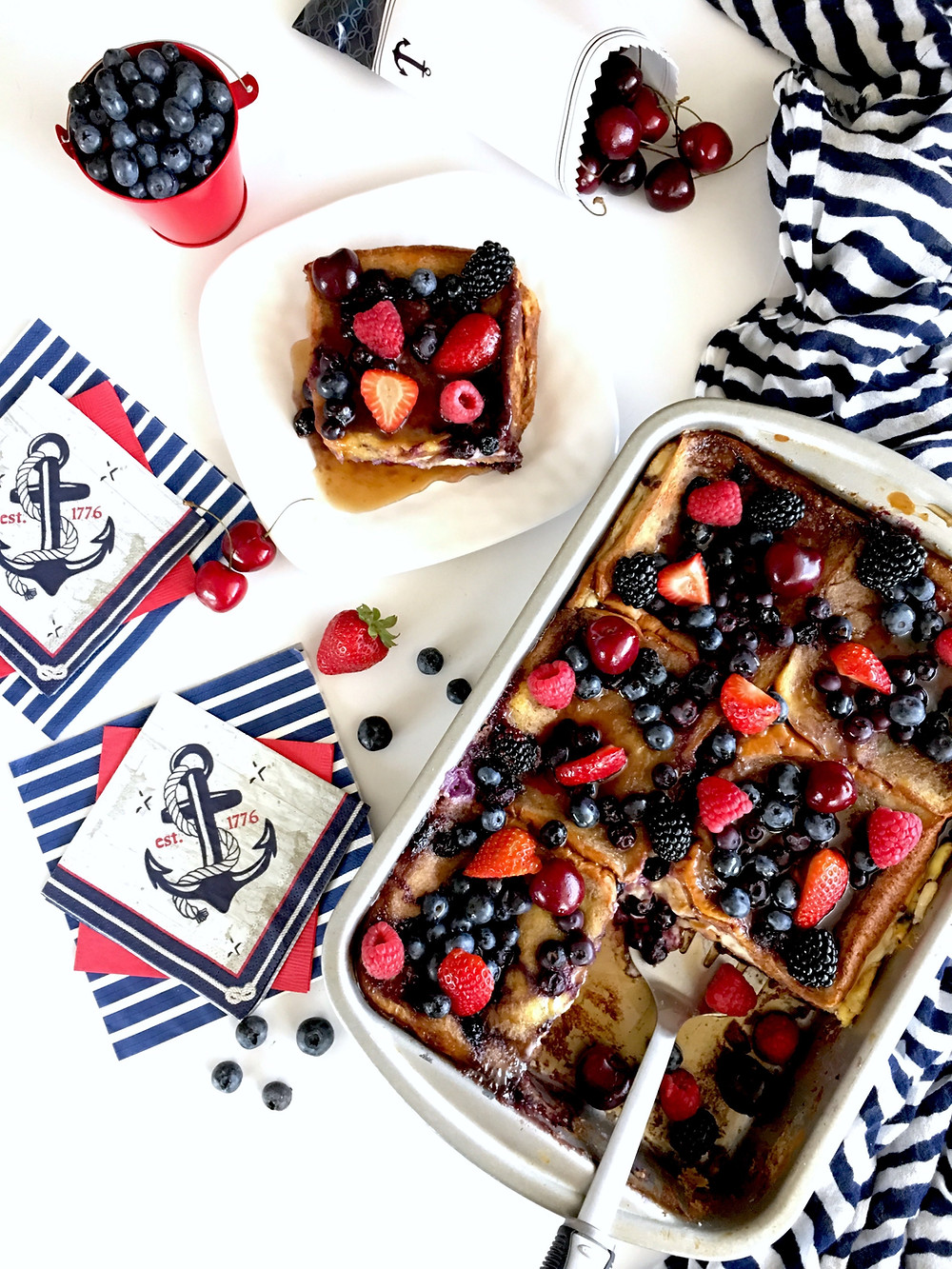 Cherry-Berry Stuffed French Toast Casserole