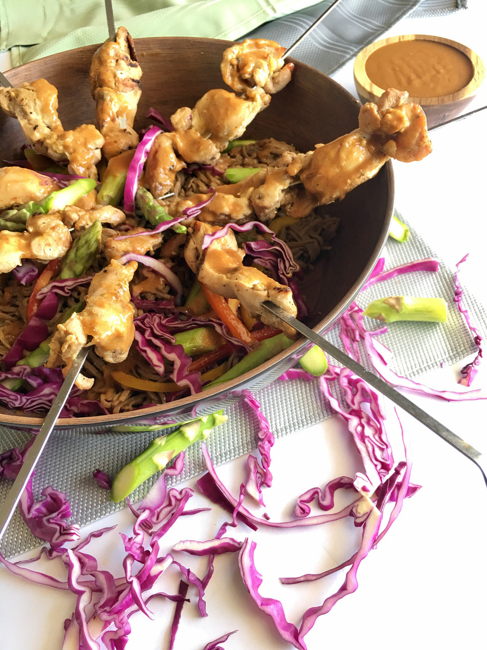 Soba Noodle Asparagus Chicken Satay