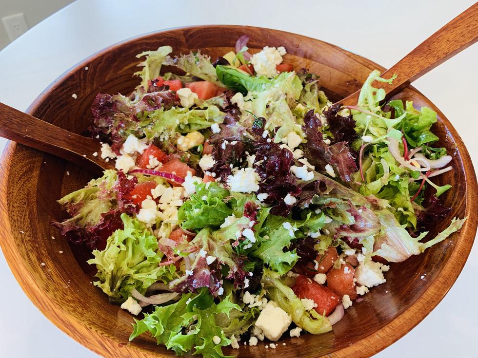 Watermelon & Feta Salad with a Mustard Vinaigrette