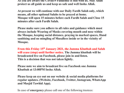 UPDATE: 11th January 2021 - Masjid Tawhid remains open for Fard salat but Jumma prayer is suspended