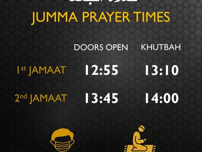 JUMMA Prayers times change