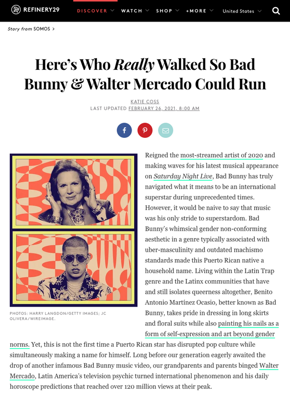 Here's Who Really Walked So Bad Bunny & Walter Mercado Could Run - Refinery 29