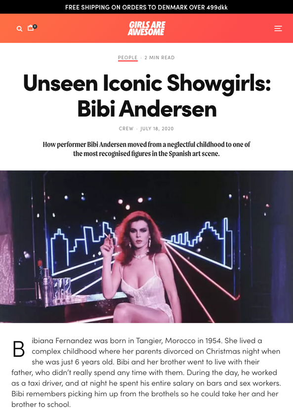 Unseen Iconic Showgirls: Bibi Andersen - Girls Are Awesome