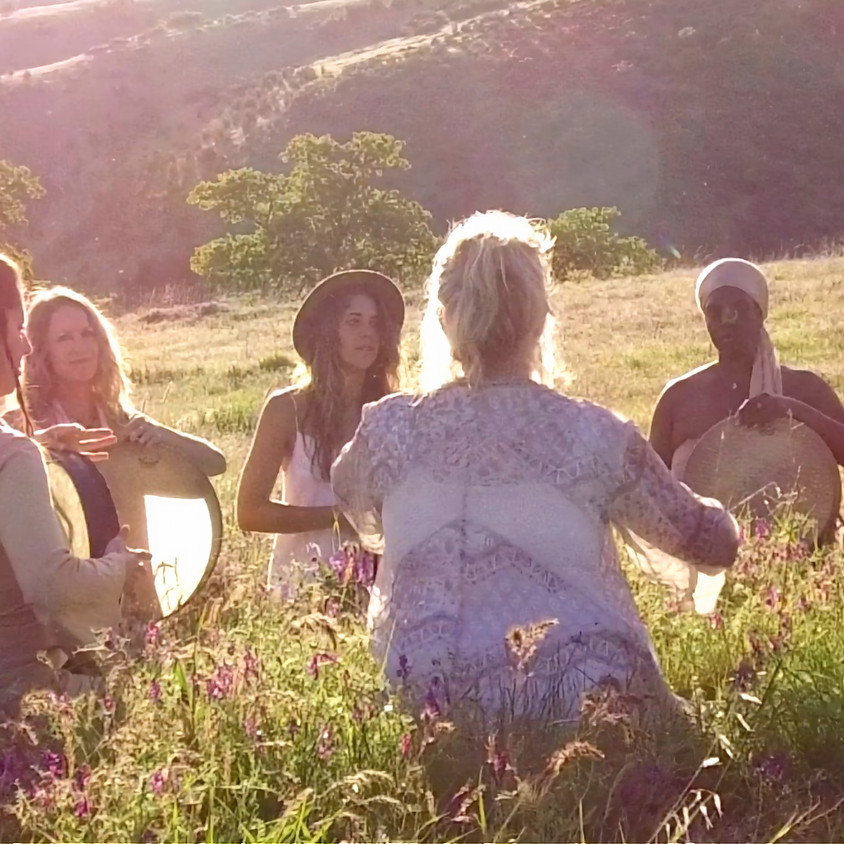 SACRED DRUMMING CIRCLE outdoors with social distance