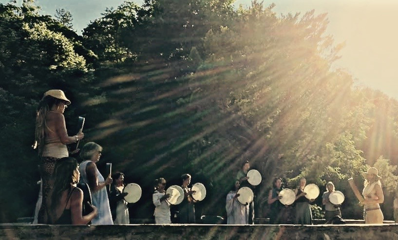 Women Drumming Golden Light
