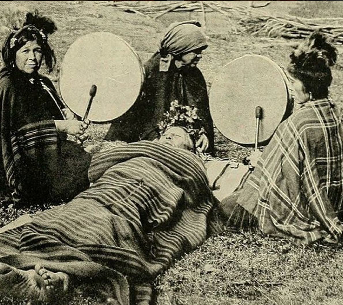 Mapuche medicine women treating a patient. Chile, 1908.