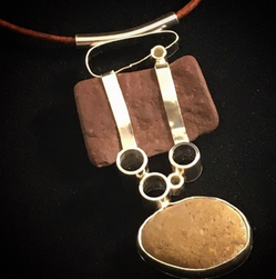 """""""Stone and Metal Cairn"""" pendant - red Zion stones and sterling silver"""