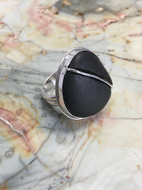 Beach Stone with Angled Metal Inlay Ring