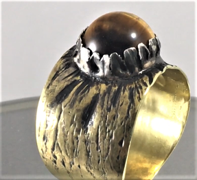 Tiger Eye Set in Silver and Brass