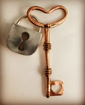 Functional silver locket and copper key