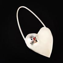 """Hole in My Heart"" - tube-set jewel set in sterling silver"