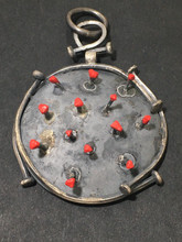 Covid-19 Corona-Virus pendant - sterling silver with painted tips