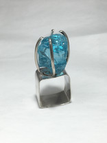 Glass Chunk and Sterling Silver