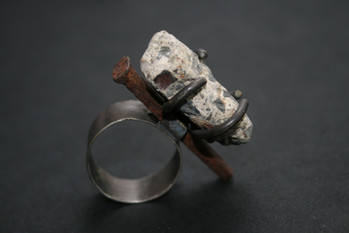Conglomerate Concrete with Vintage Rusted Nail on Sterling Silver