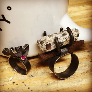 Concrete and Vintage Nail + Curly and Gem Rings