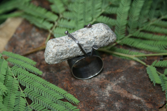 Natural Curved Stone Simply Wrapped in Sterling Silver