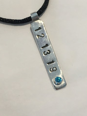 Memory keepsake - turquoise birthstone with date-stamped sterling silver