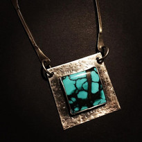 """""""Spiderweb"""" turquoise and hammer-textured sterling silver pendant"""
