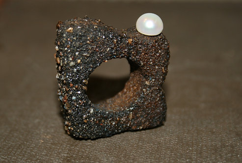 Rugged Elegance - Concrete and Pearl Ring