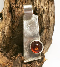 """""""Amber in the Rough"""" - Amber stone on reticulated sterling silver pendant"""